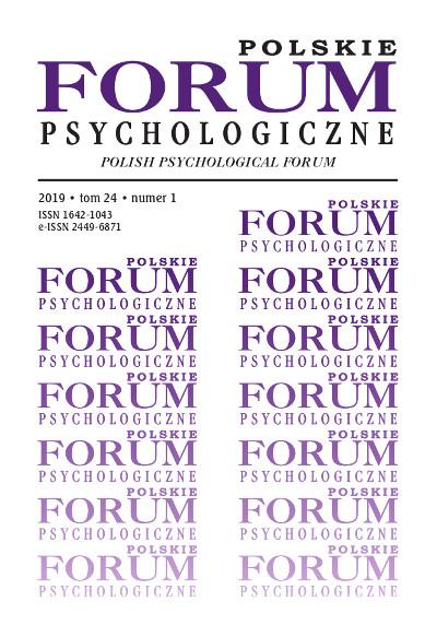 Polskie Forum Psychologiczne tom 24 numer 1