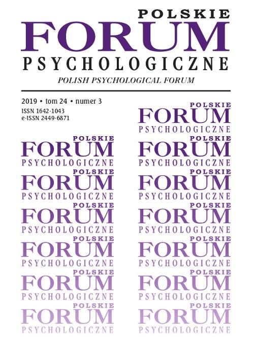 Polskie Forum Psychologiczne tom 24 numer 3