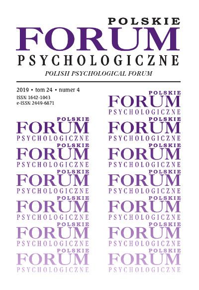 Polskie Forum Psychologiczne tom 24 numer 4