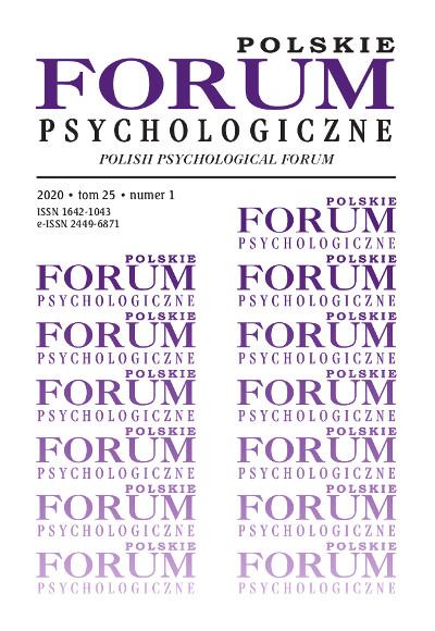 Polskie Forum Psychologiczne tom 25 numer 1
