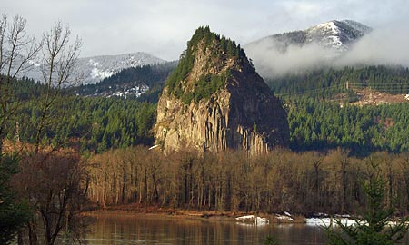 Beacon Rock rising above the Columbia, as viewed from the Oregon side