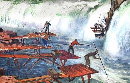 1930s painting of Indians fishing at Celilo Falls, as they had for thousands of years prior to white settlement of the Oregon Country.
