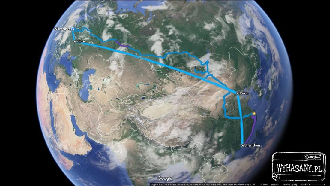 Trasa wyprawy do Chin