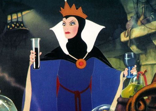 Evil queen holding a vial and beaker because she's all about creative problem solving and data driven decisions.