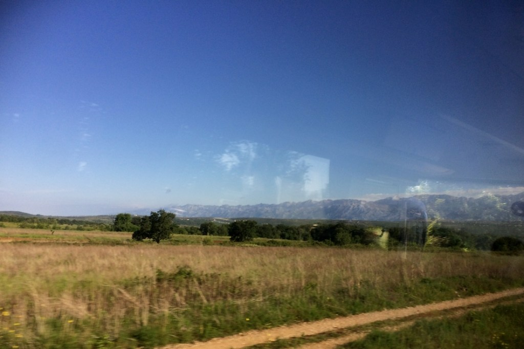 view from the bus outside Zadar on way to Senj