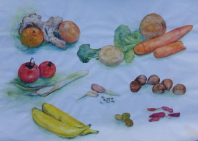 Fruit and vegetable study, watercolour by AnneMarie Foley