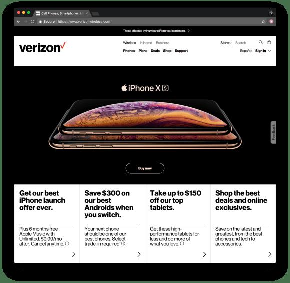 Verizon web site