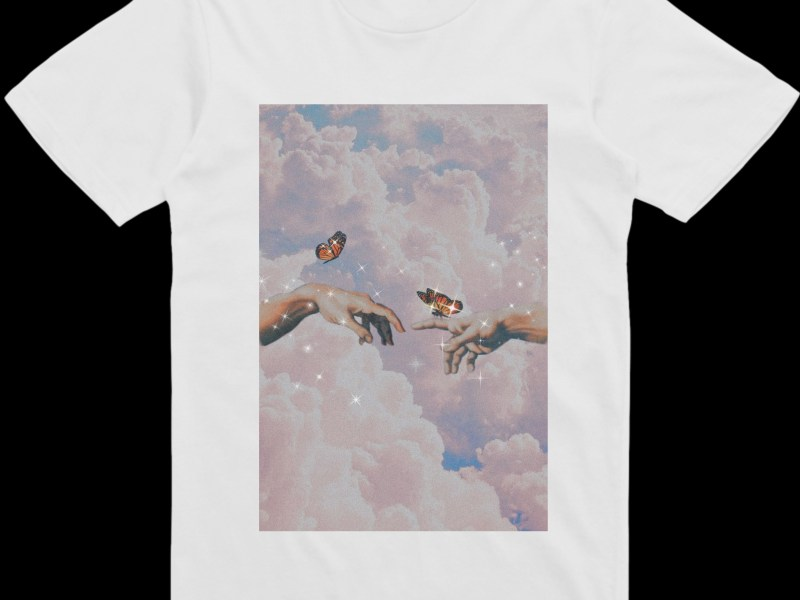 Image of White Polyester T-shirt with Sparkle Sky Design