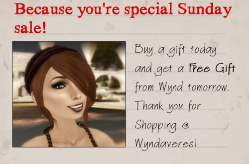 Sunday sale in Secondlife from Wyndaveres