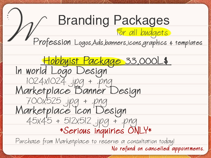 Hobbyist Branding logo, icon, banner, design package for Second Life businesses.