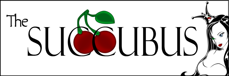 The Succubus Logo Banner Branding Marketing Advertising White Background With the Words The Succubus with 2 red cherries on green stems in the background and a comic draw woman with black hair and a crown