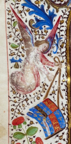 Manuscript image of angel carrying British arms amidst a floral border.