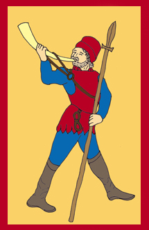 Cartoon image of a man with spear blowing a horn