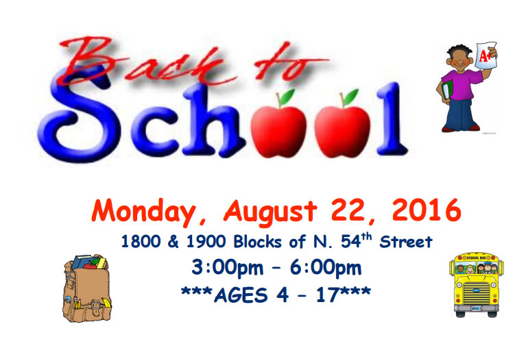 Back to School – Monday, August 22, 2016