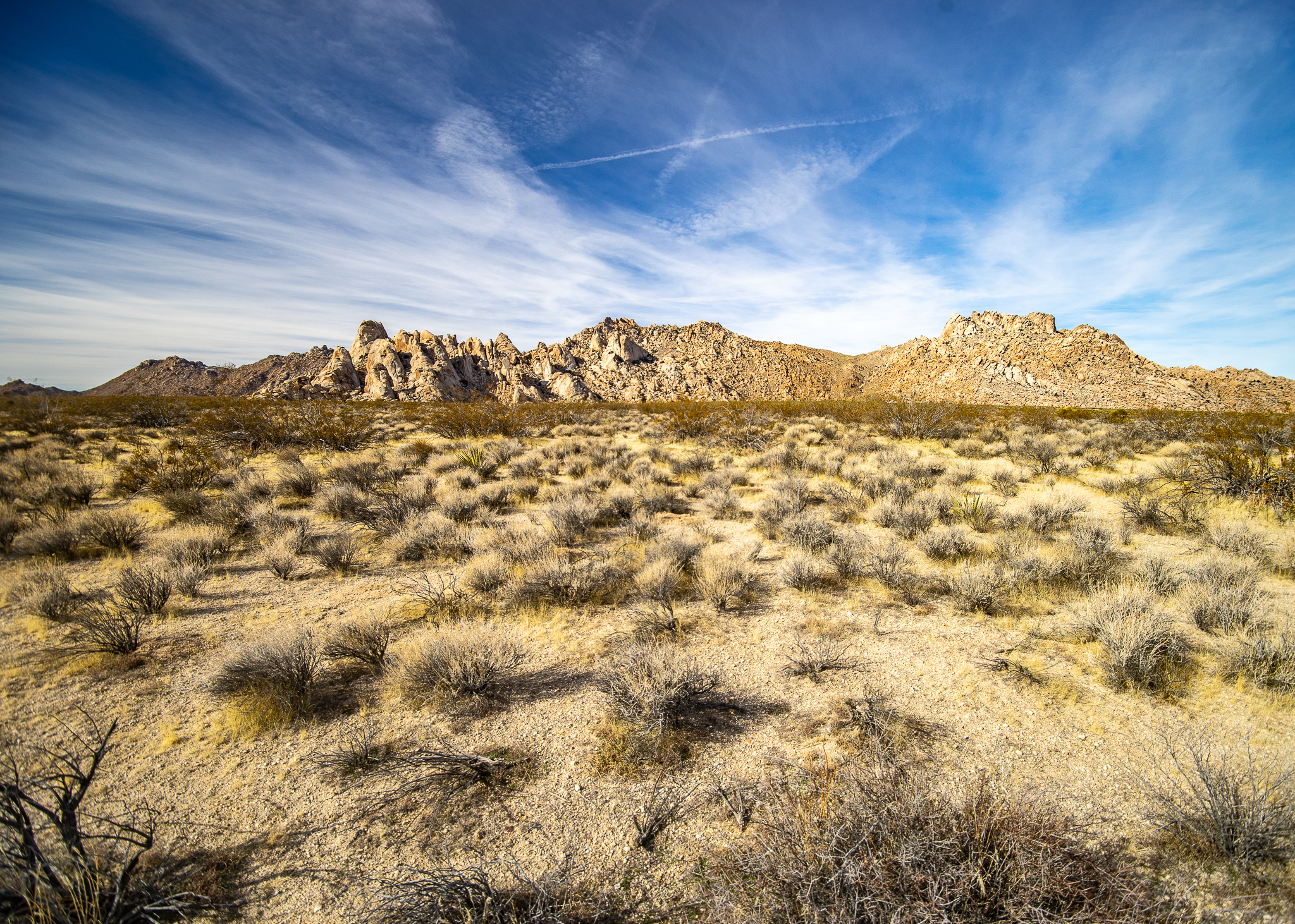 Desert and mountains with blue sky