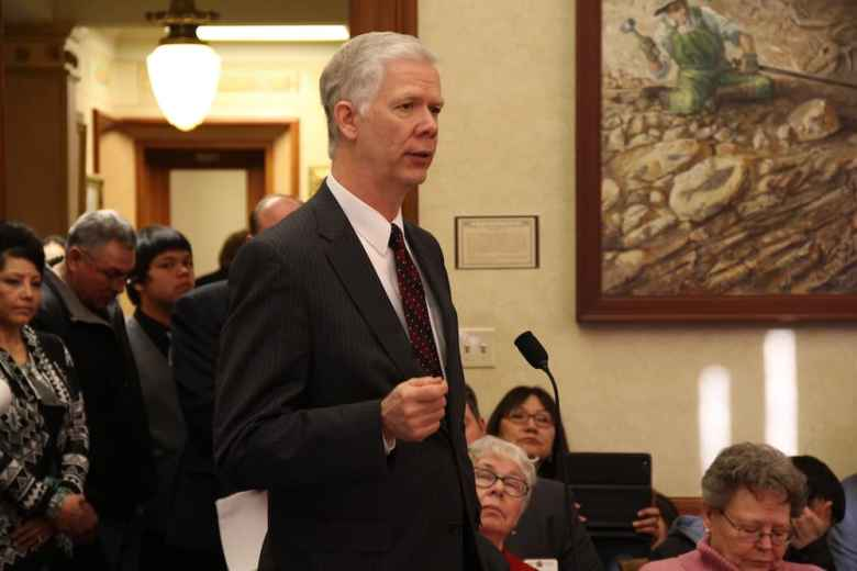 Wyoming Department of Health Director Tom Forslund testifies before the 2015 legislature. His department has seen significant cuts, and may face more belt tightening if the Legislature doesn't approve additional funds for the Title 25 program, which has been rising in cost (Gregory Nickerson/WyoFile)