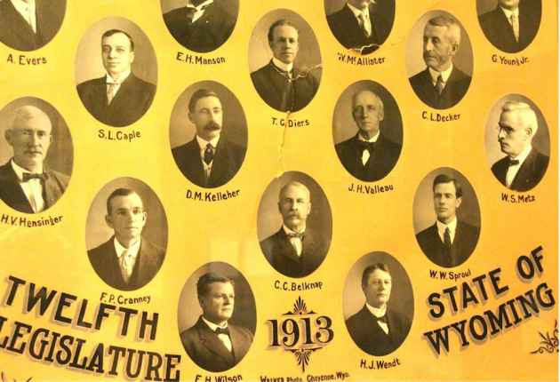 A composite portrait of the 1913 legislature still shows the tear, at upper center, where a legislator tried to smash it over another lawmaker's head during the 1915 session. (Gregory Nickerson/WyoFile)