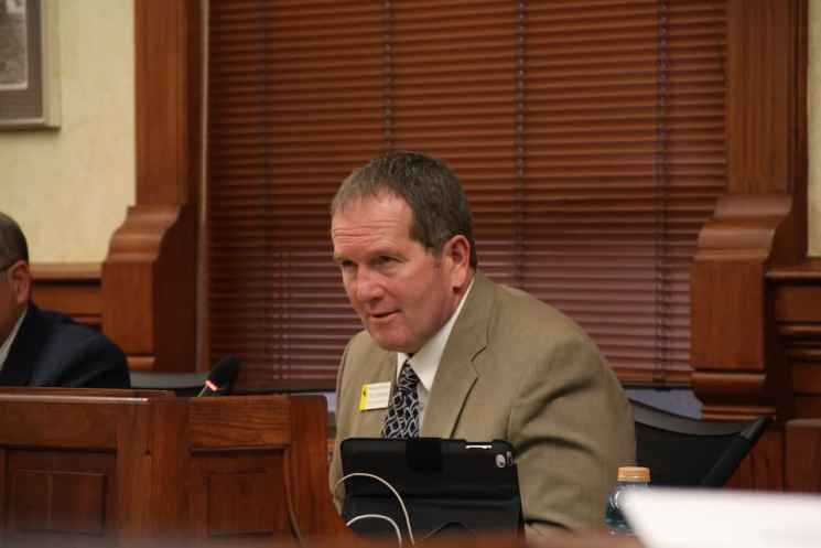 """""""We are going to continue to invest in our state and our people and our institutions,"""" said House Appropriations Chairman Steve Harshman (R-Casper). (Gregory Nickerson/WyoFile)"""