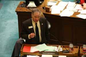 Sen. Dave Kinskey (R-Sheridan) spoke in favor of the bill. His amendments to exempt some for-profit businesses from discrimination enforcement failed to win approval from the Senate Judiciary Committee. For more on Kinskey's amendment, read this WyoFile piece. (Gregory Nickerson/Wyofile)