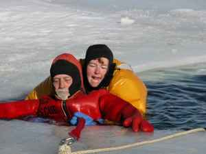Members of Johnson County Search and Rescue practice ice rescues. The county has 16 members certified in ice rescue