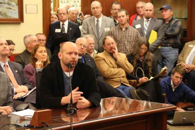 Dave Teubner, Co-owner of Warehouse 21, speaks at a House Labor Committee meeting on Senate File 115. He argues that Wyoming will face challenges recruiting tech and LGBT-friendly businesses without passing anti-discrimination. (Gregory Nickerson/WyoFile)