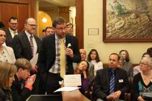 Matthew Shepard Foundation director Jason Marsden spoke at a House Labor Committee hearing on LGBT anti-discrimination. He said talk of denying services to gays and lesbians reminds him of religious arguments against desegregation in the 1960s. (Gregory Nickerson/WyoFile)
