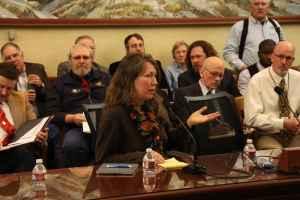 University of Wyoming Staff Senate president Rachel Stevens speaks at a 2015 legislative hearing. (Gregory Nickerson/WyoFile)