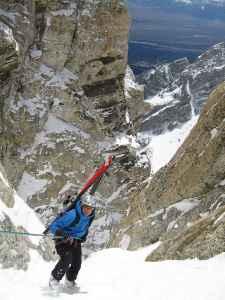 Steve Romeo climbs the Grand Teton in Grand Teton National Park. It took him multiple attempts before he checked off skiing the famous peak. (courtesy TetonAT)