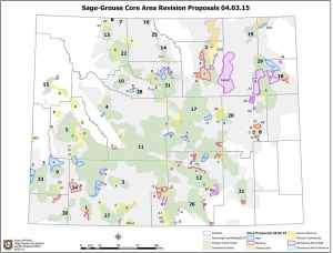 """This latest Wyoming Game and Fish map outlines proposed changes to the Wyoming core area. A subcommittee will consider some of the mapping changes Tuesday in Lander and may focus on the light blue area under the numeral """"5"""" in Sublette County where sage grouse winter range and a proposed gas field overlap. (Wyoming Game and Fish Department/Nyssa Whitford)"""