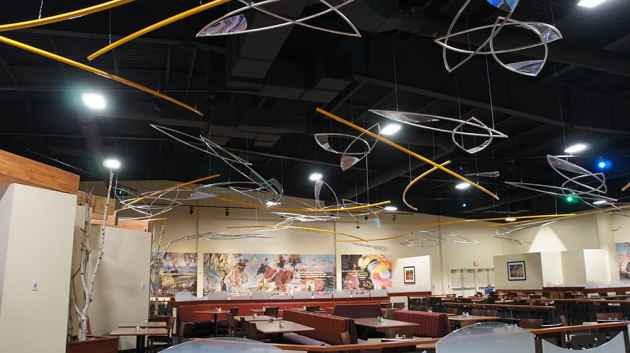 New artwork adorns the ceiling of the Wind River Casino. Northern Arapaho and Eastern Shoshone compete with each other for gamblers, which has prompted plans for expansion at the Shoshone Rose casino. (photo by Geoff O'Gara)