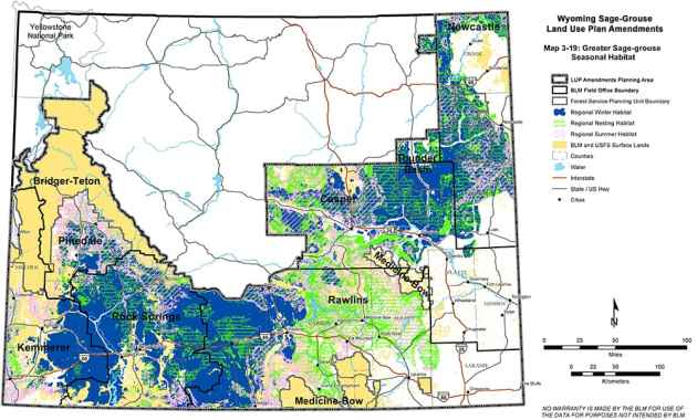 """This map was included in a draft BLM study for greater sage grouse conservation across much of Wyoming, but was removed in the final version. It depicted """"regional winter habitat"""" in dark blue at the proposed NPL gas field just south of Pinedale. (BLM)"""