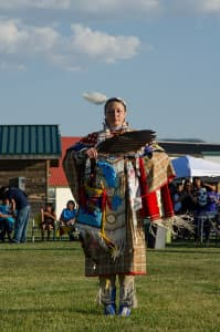 Isis Red Elk is among the Eagle Spirit Dancers, which performs weekly in Lander during the summer. (photo by Matthew Copeland)