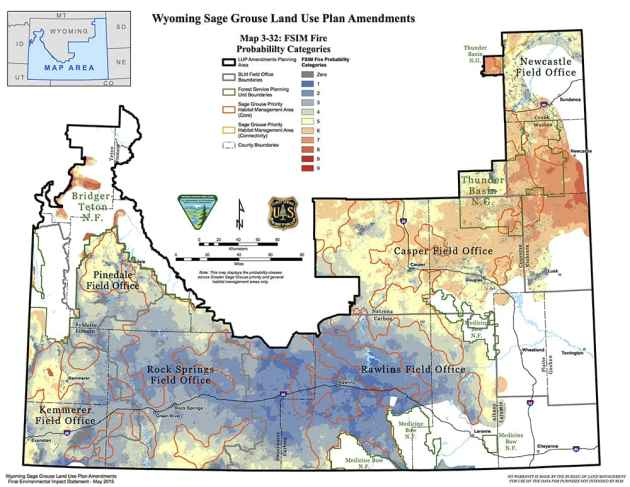 Fire is one of the biggest threats to greater sage grouse and the Department of the Interior has prioritized a battle against it on sagebrush rangelands this summer. This map shows the danger fire poses across parts of Wyoming. (BLM)