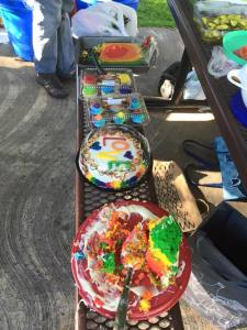 Wyoming LGBT supporters brought rainbow colored cake to the Laramie Pride Picnic. (Wyoming ACLU)
