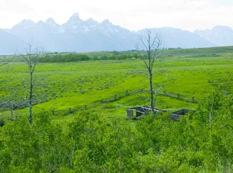 The remaining state school trust section in Grand Teton National Park looks down on the Luther Taylor homestead, also known as the Shane cabins after the buildings appeared in the famous western that was filmed in Jackson Hole. Spectacular views and varied terrain would make this 640-acre section near Kelly prime real estate for 18 homes if Wyoming sold it to a developer, a prospect conservationists and the Department of the Interior hope to avoid. (Angus M. Thuermer Jr,/WyoFile)