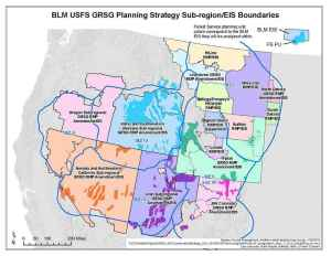 This map shows the many areas and jurisdictions in the West where the BLM and U.S. Forest Service have forged conservation plans for the greater sage grouse. Gov. Matt Mead has protested the ones that apply to Wyoming. (U.S. BLM)