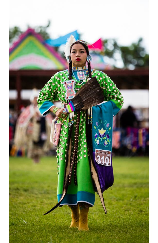 Jordynn Paz from Crow Agency, Montana dances at the Eastern Shoshone Indian Days Powwow, Fort Washakie Wyoming, Sunday June 28, 2015. (Terance Oldman)