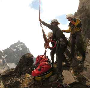 A rescue litter is delivered to Jenny Lake Climbing Rangers. A new report compiled by ranger George Montopoli and his daughter Michelle Montopoli show trends in search and rescue incidents in Grand Teton National Park. (courtesy Grand Teton National Park)