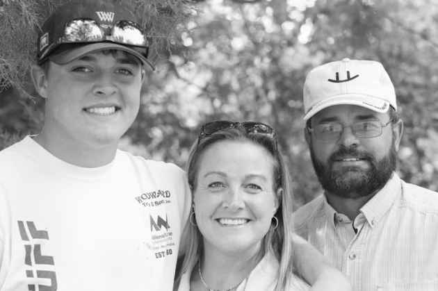 Martin Mercer, right, and his wife Kelli and son Asa want the proposed Alkali Creek Reservoir to be built on their ranch. The family would trade for or buy other property if a deal is struck with the state. (Angus M. Thuermer Jr./WyoFile)