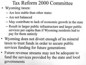 A slide distributed by Sen. Nicholas summarizes the findings of the Tax 2000 study.)