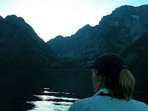 Canoeing at dusk, Leigh Lake, Grand Teton National Park. (Nancy Debevoise)
