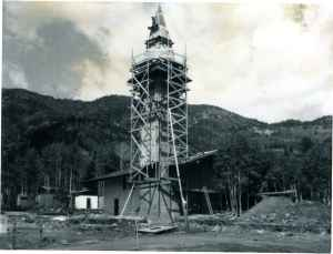 Construction is underway on what would become Jackson Hole Mountain Resorts iconic clock tower. (courtesy Jackson Hole Mountain Resort)
