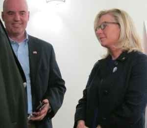 Wyoming GOP U.S. House of Representative candidate Liz Cheney and her husband Philip Perry visited with Wyoming GOP state convention attendees Friday in Casper. (Dustin Bleizeffer/WyoFile)