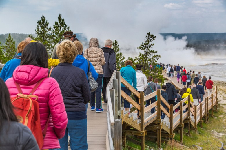 Crowds fill the boardwalk in the Lower Geyser Basin Yellowstone National Park in August 2015. Learning where, when and why back-ups like this form can help park officials alleviate the problem. (Photo courtesy NPS/Neal Herbert)