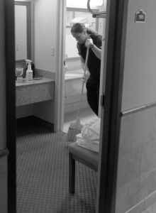 LaPlatney at work at the Ramada in Casper where she has a job as a housekeeper. As she becomes more familiar with the free world, she might seek to move to a more responsible front-of-house position, like the ones she held before her conviction. (Angus M. Thuermer Jr./WyoFile)