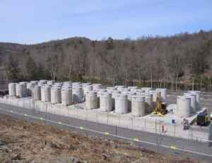 The Connecticut Yankee Independent Spent Fuel Storage Installation site in Haddam, Connecticut, with 43 dry storage NRC-licensed dual-purpose (storage and transport) casks. (DOE)