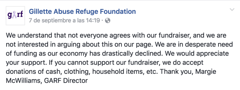 The Gillette Abuse Refuge Foundation raffled off a hunting rifle to make up for cuts in local funding. There was some controversy, which this Facebook post addressed.