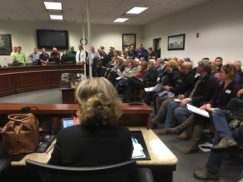 On Dec. 14, a large group showed up to testify against a constitutional amendment dealing with the transfer of federal lands to the state. Many were surprised to find testimony was limited to dealing with the language of the amendment, and not the amendment itself.(Andrew Graham/WyoFile)