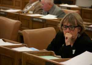 House Minority Leader Cathy Connolly (D, HD-13, Laramie) thinks the Legislature is making deep cuts and ignoring money being directed to state savings. (Andrew Graham/WyoFile)