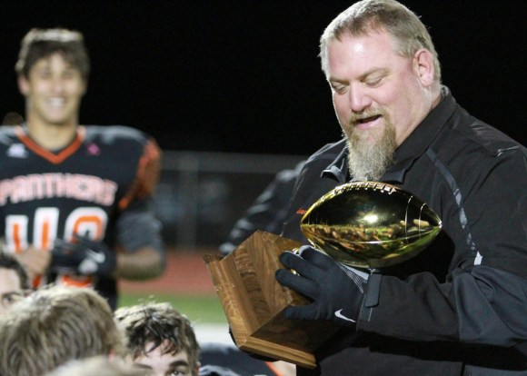 Stringer celebrates after Powell beat Green River to win the 3A West Conference title on Oct. 19, 2013, in Powell. Photo courtesy of Greg Wise.